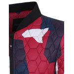 Stand Collar Color Block Geometric Pattern Jacket deal