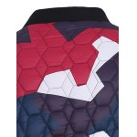 Stand Collar Color Block Geometric Pattern Jacket for sale