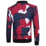 cheap Stand Collar Color Block Geometric Pattern Jacket