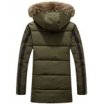 cheap Printed Faux Fur Hooded Paneled Zippered Padded Coat