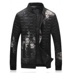 Geometric Pattern Cloud Printed Quilted Jacket