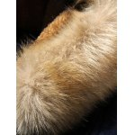 cheap Faux Fur Hooded Flocking Toggle Coat