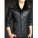 Button Up Faux Leather Sherpa Jacket deal
