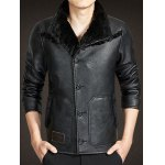 cheap Button Up Faux Leather Sherpa Jacket