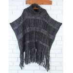 Turtleneck Asymmetric Fringed Knit Cape Sweater