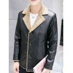 Notch Lapel Button Up Sherpa Faux Leather Jacket deal