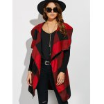cheap Belted Plaid Wrap Coat