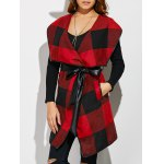 Belted Plaid Wrap Coat