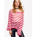 cheap Casual Drop Shoulder Striped Pullover Sweater