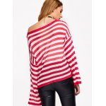 Casual Drop Shoulder Striped Pullover Sweater for sale