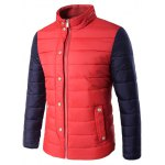 Stand Collar Zip Up Color Block Padded Jacket