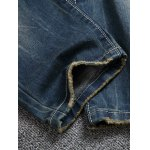 Pocket Rivets Zipper Fly Ripped Jeans for sale