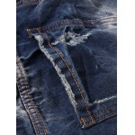 Zipper Fly Pocket Rivets Scratched Ripped Jeans for sale