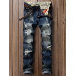 Zipper Fly Pocket Rivets Scratched Ripped Jeans
