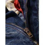 cheap Zipper Fly Pocket Rivets Scratched Ripped Jeans