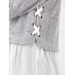 best Lace Up Flounced Pullover