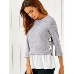 cheap Lace Up Flounced Pullover