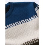 cheap Crew Neck Color Stripe Flocking Texture Sweater