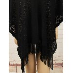 cheap Fringed Asymmetric Pullover Crochet Cape Sweater