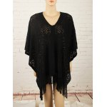 Fringed Asymmetric Pullover Crochet Cape Sweater