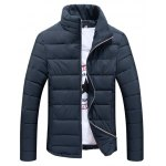 Stand Collar Zip Up Plain Padded Jacket
