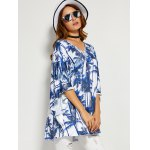 cheap Coconut Tree Print Backless Blouse