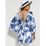 Coconut Tree Print Backless Blouse deal