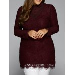 Splicing Long Sleeve Lace Blouse