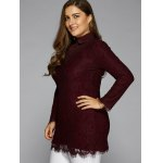 cheap Splicing Long Sleeve Lace Blouse