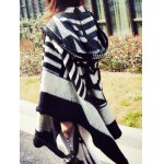 Hooded Asymmetric Geometric Pullover Cape Sweater deal