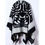 cheap Hooded Asymmetric Geometric Pullover Cape Sweater