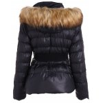cheap Belted Furry Hooded Puffer Jacket
