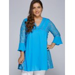 cheap Lacework Splicing Hollow Out Plus Size Blouse