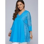 Lacework Splicing Hollow Out Plus Size Blouse deal