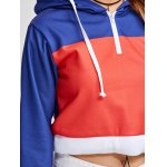 Color Block Cropped Pullover Short Hoodie for sale