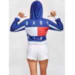 Color Block Cropped Pullover Short Hoodie deal