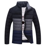 Contrast Insert Stand Collar Zip Up Padded Jacket