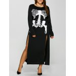 Halloween Skeleton Print High Split Dress