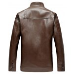cheap Letter Pattern Zip Up Faux Leather Jacket