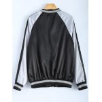 cheap Color Block Flower Embroidery Fall Bomber Jacket