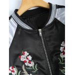 Color Block Flower Embroidery Fall Bomber Jacket deal
