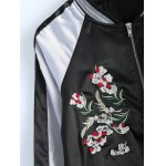 Color Block Flower Embroidery Fall Bomber Jacket for sale
