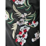Color Block Flower Embroidery Fall Bomber Jacket photo
