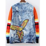 cheap Ripped Patched Denim Spliced Jacket