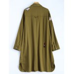cheap Shirt Neck Patched Duster Coat