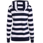 cheap Zip Up Drawstring Striped Hoodie