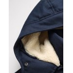 Plus Size Hooded PU Leather Spliced Down Jacket deal