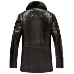 cheap Plus Size Faux Fur Collar Flocking PU Leather Jacket