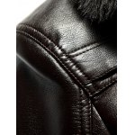Plus Size Faux Fur Collar Flocking PU Leather Jacket for sale