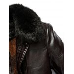 Plus Size Faux Fur Collar Flocking PU Leather Jacket deal